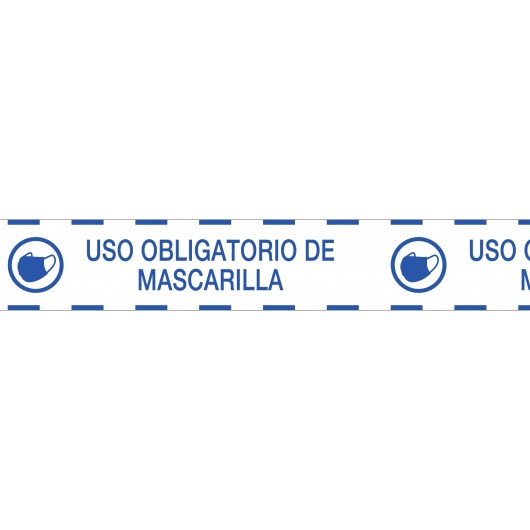 cinta de señalizacion pvc uso obligatorio de mascarilla